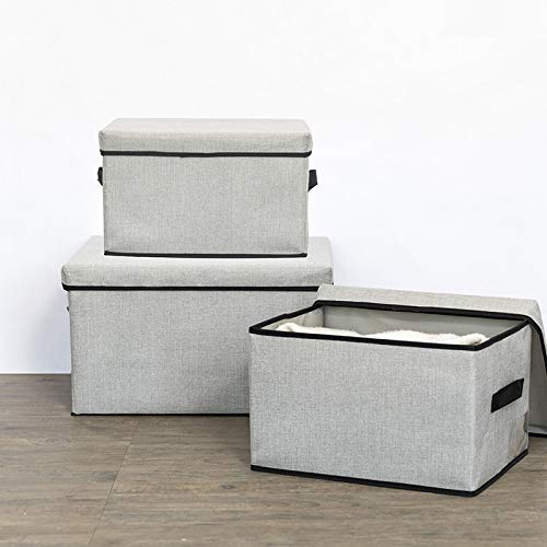JINQIANSHANGMAO Containers Linen Clothes Storage Box Washable Sundries Storage Container Foldable Underwear Clothes Cover Box Home Organizer (Color : Brown, Size : L 50x40x30cm)