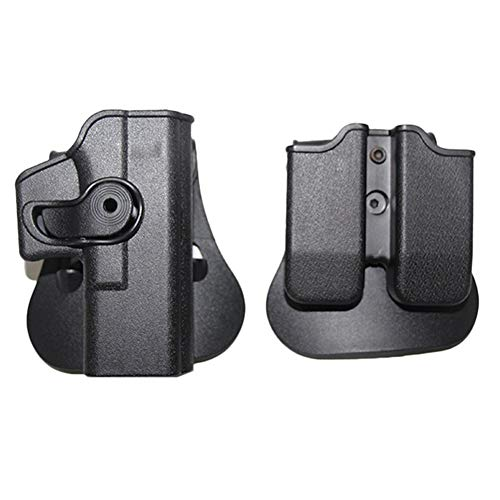 Yuansu Glock 17 19 22 26 31 Caso Softair Imi Glock Holster Caccia Combattimento Tattico Fondina for Pistola Fondine con Clip Pouch (Color : Black Set with Pouch)