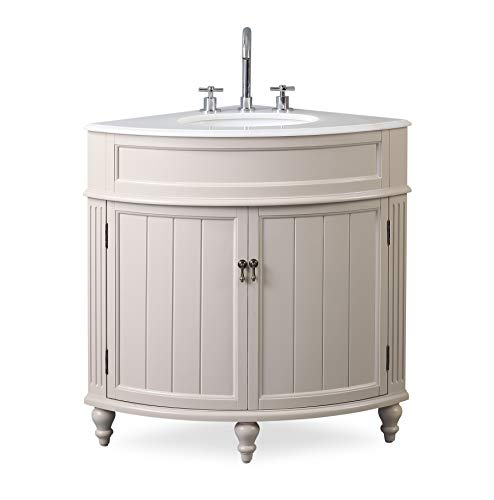 "24"" Thomasville Taupe Modern Slim Corner Bathroom Sink Vanity ZK-47599TP"