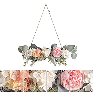 Artificial Rose Flower Swag Pink Rose White Hydrangea Green Leaves Simulation Decorative for Home Garden Party Wedding Decor Farmhouse Front Door Wall Decor Home Decorations 14.9X4.7 Inch (E)