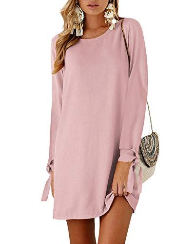 Kidsform Mini sukienki damskie na jesień/lato na co dzień szyfonowa sukienka, tunika, sukienka z krótkim rękawem, jednolita/kwiecista bluzka