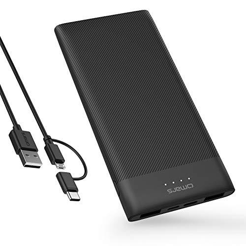 Omars - Batería Externa de 10 000mAh, Cargador portátil Ultra Delgado con USB-C y 2 USB A, powerbank con Triple Salida para iPhone X/8/8Plus, iPad, Samsung Galaxy S9/Note 8, Smartphone, iPad y más