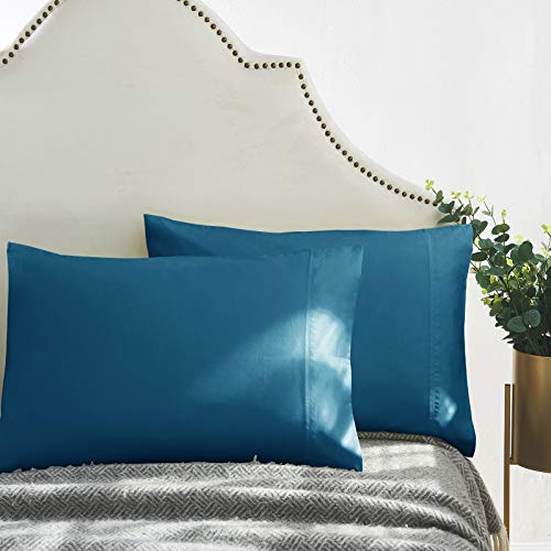 Queen Pillowcase Set of 2, Luxury Hotel Pillow Cases, 100% Supima Cotton 600 Thread Count, Sateen Weave, Premium Quality Queen Pillowcase 2 Pieces (Peacock Blue, Standard)
