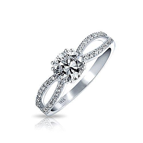 Bling Jewelry 1 Ct- Runder Brillanter Solitär CZ Sterling Silber Verlobungsring Für Damen Versprechen Split Öffnen Band