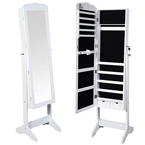 BAKAJI Spiegelschrank Schmuckschrank Schmuckschrank Schmuckschrank Schmuckschrank Schmuckschrank Spiegel mit Türen und Schubladen Farbe weiß Schrank Schmuckschrank Schmuckschrank (Michela)
