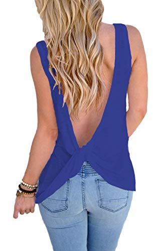 YACUN Camiseta De Verano Sin Espalda con Anudado Y Espalda Descubierta para Mujer Azul M