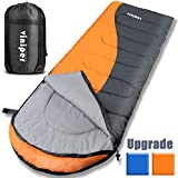 viniper Sleeping Bag, Comfort, Waterproof and Lightweight Envelope Sleeping Bag with Compression Sack Perfect for 4 Season Traveling, Camping, Hiking, Outdoor Fit Kid Women Men (Orange + Gray)
