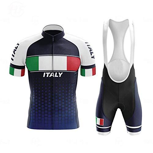 WOLFIRE WF Traje de Ciclismo para Hombre de Equipos. Culotte y Maillot. con 5D Gel Pad. para MTB, Spinning, Bicicleta de Carretera (Italia 2, S)