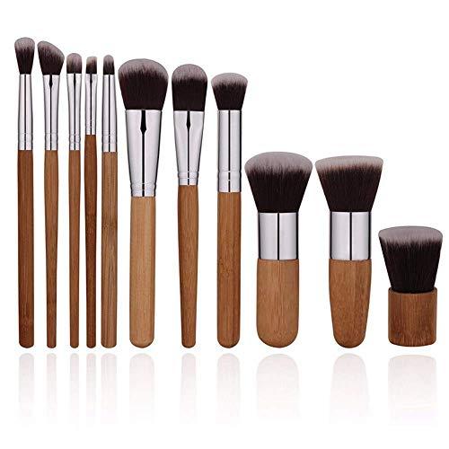 JFFFFWI Pinceau de Maquillage 11 pinceaux cosmétiques Outils cosmétiques poignée en Bambou Ensemble de pinceaux cosmétiques