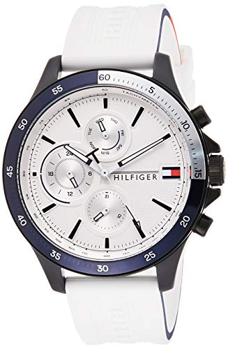 Tommy Hilfiger Herren Analoger Quarz Uhr mit Silikon Armband 1791723