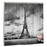 goodsaleA Cortina de Ducha,automóviles,Paisaje romántico Famosa Torre Eiffel en un día Nublado y Vibrante vehículo Rojo Estampado de Tela Decoración de baño Set con Ganchos 150cmx180cm