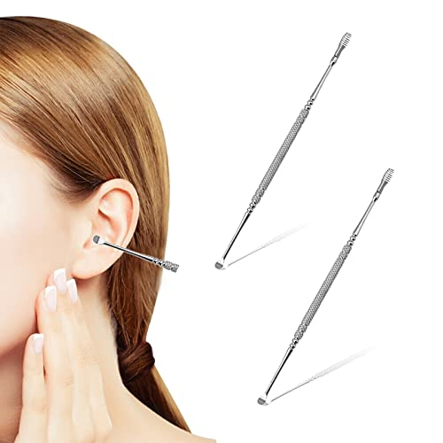 Spiral Ear Wax Ear Pick Spoon,2 Pack Portable Soothing & Anti-Itch Earwax Tool,Double-Ended Stainless Steel Spiral Ear Pick Spoon,Multifunction Portable Spiral Ear Clean Tool,for Woman Man Adults