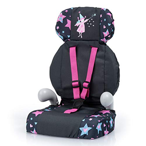 Bayer Design 67506AA Deluxe Puppen-Autositz, Puppensitz, Puppenzubehör, mit Gurt, schwarz, Sternen Muster, Fee