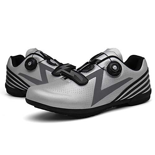 HZWL Zapatillas de Ciclismo sin Bloqueo para Bicicleta de Carretera, Ocio de Primavera y Verano y Suela de Goma Transpirable (Gris) Grey-UK 5.5 = EU 39
