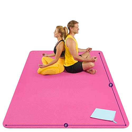 Large Yoga Mat 8'x6'x8mm Extra Thick, Durable, Eco-Friendly, Non-Slip & Odorless Barefoot Exercise and Premium Fitness Home Gym Flooring Mat by ActiveGear - Pink