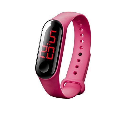 LED Electronic Sports Luminous Sensor Watches SOM Depth Waterproof Smartwatch for Women Men Kids (Hot Pink)