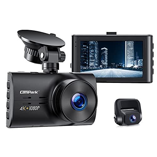 Campark Echte 4K Dashcam Vorne und Hinten, Dual Autokamera 3 Zoll IPS Bildschirm 170°Weitwinkel, WDR Nachtsicht & F1.8 Blende, Loop-Aufnahme, Auto Dashcam Parkmonitor und G-Sensor, 256GB Unterstützung