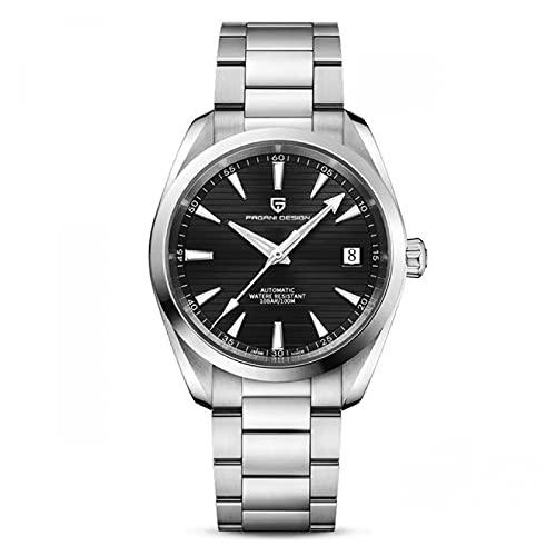 Cuitan 40 mm DIAL Relojes para Hombre 3M Reloj mecánico automático Luminoso a Prueba de Agua para Hombres Reloj de Pulsera de Acero Inoxidable Azul(Negro)