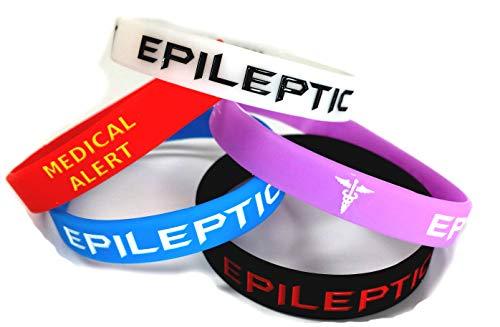 Epilepsie-Armband, Epileptik, leuchtet im Dunkeln, Rot, Schwarz, Lila, Blau, Seizurblau, 5 Stück
