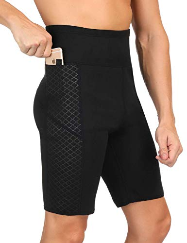 Herren Sauna Sweat Abnehmen Shorts Neopren Trainingshose für Workout Sweat Body Shaper