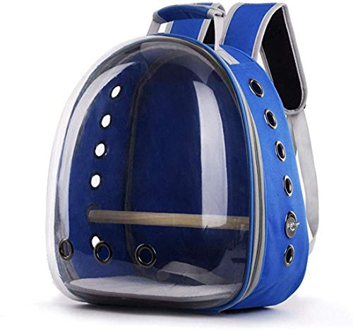 Transparent Pet Backpack Breathable Parrot Bird Carrier Bag Space Capsule for Travel Walking Outdoor 360° Sightseeing (Blue)