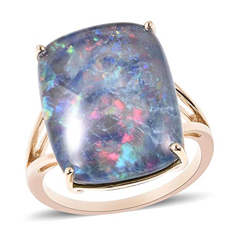 TJC Opal Solitaire Ring for Women in 9ct Yellow Gold Christmas Gift/Engagement Jewellery Size P, TCW 12.25ct