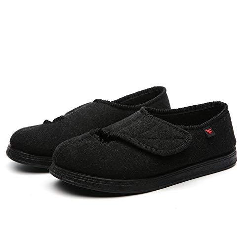 XRDSHY Zapatos para Diabéticos para Mujer, Sandalias Ajustables para Edema para Ancianos, Calzado Ligero Y Cómodo para Caminar para Pies Hinchados, Fascitis Plantar,Black-EU44/270mm