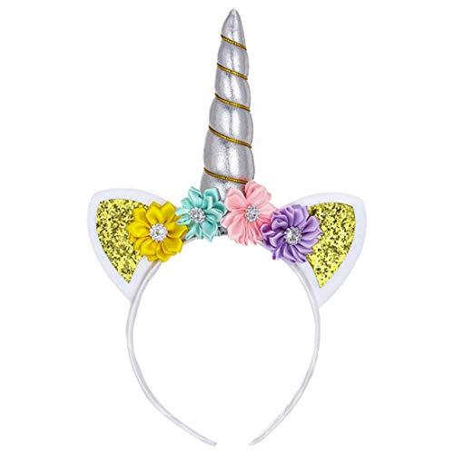 Yefree Fille Licorne Bandeau Fête D'anniversaire Cosplay Enfants Accessoires cheveux Floraux