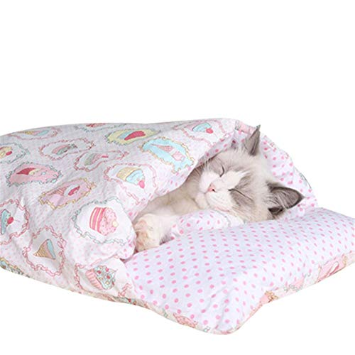 KLIEUWDBAARASRASJ Removable Dog Cat Bed Cat Sleeping Bag Sofas Mat Winter Warm Cat House Small Pet Bed Puppy Kennel Nest Cushion Pet Products-7,M