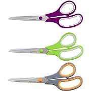 AmazonBasics Multipurpose, Comfort Grip, Titanium Fused, Stainless Steel Office Scissors - Pack of 3