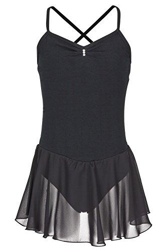 tanzmuster ® Ballettkleid Mädchen Träger - Maja - (Größe 92-170) aus weichem Baumwollstoff mit Glitzersteinen Ballett Trikot mit Chiffon Rock in schwarz, Größe 164/170