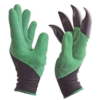 Gartenhandschuhe mit Grabkrallen | Arbeitshandschuhe wasserdicht 4er Set | 2x Gartenhandschuhe mit Krallen + 2x normale Garten Handschuhe