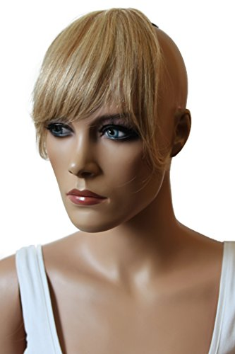 PRETTYSHOP 100% ECHTHAAR Pony Haarteil Haarverdichtung Haarverlängerung Blond Mix H313a
