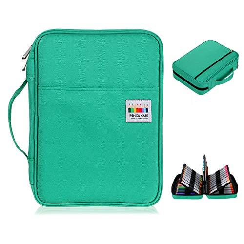 BTSKY Colored Pencil Case 220 Slots Pen Pencil Bag Organizer with Handy Wrap Portable- Multilayer Holder for Prismacolor Crayola Colored Pencils & Gel Pen(Green)