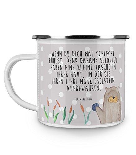 Mr. & Mrs. Panda Metalltasse, Kaffeetasse, Camping Emaille Tasse Otter mit Stein mit Spruch - Farbe Grau Pastell