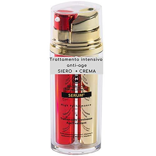 Mejor Suero Crema Antiarrugas Mujer Hombre-2 Productos, Doble Resultado, Efecto Inmediato - 4 tipos de Ácido Hialurónico, Vitamina A, C, Aceite de Jojoba, Argán - Antiarrugas, hidratante, iluminador