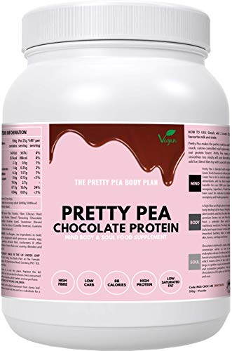 Vegan Chocolate Protein Powder + Superfoods by Pretty Pea | Low Calorie | Low Carb | Vegan Protein Shake | Gluten Free | Dairy Free | Soy Free | No Artificial Sweetener | UK | 500g