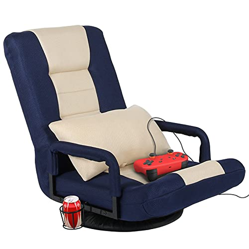 STHOUYN 360-Degree Swivel Gaming Recliner Floor Chair Video Game Chair Armrest, Comfy 6-Position Foldable Adjustable Backrest Blue and Ivory (Blue)