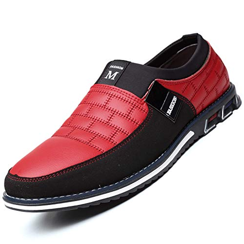 COSIDRAM Men Casual Shoes Summer Sneakers Loafers Breathable Comfort Walking Shoes Fashion Driving Shoes Luxury Leather Shoes for Male Business Work Office Dress Outdoor Red 7