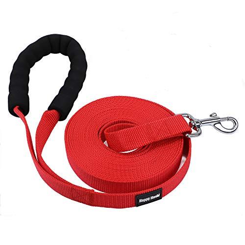 HAPPY HACHI Schleppleine Geflochten Hundeleine führen Lange Seil Nylon Gurtband Recall Ausbildungsleine Leine für Pet (M-6m, Rot-gepolstert)