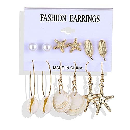 FEARRIN Pendientes a Granel Pendientes Brincos Set Pendientes de Perlas de Concha para Mujer Pendientes de aro con borlas de Leopardo Joyería Kolczyki Femenina LNI0624-2