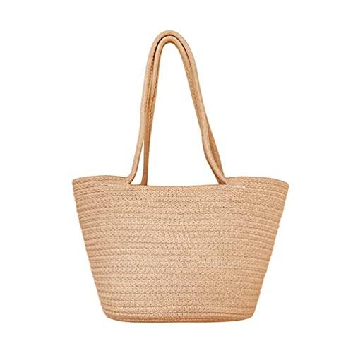 Cabilock Women Straw Woven Tote Large Beach Bag Handmade Weaving Shoulder Bag Handbag Flower Basket for Summer Travel Market Shopping Khaki