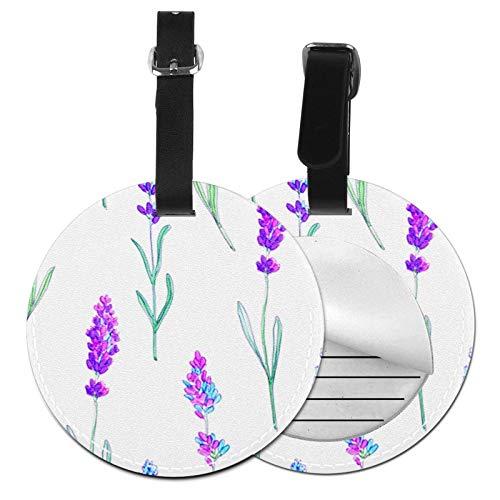 Kofferanhänger Inklusive Adressfeld, Pu Leder Kofferschild, Gepäckschild für Koffer Tasche Rucksack Lavendel Blumenstrauß