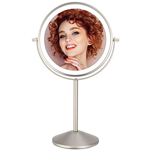 8 Inch Rechargeable Lighted Makeup Mirror, Double Sided Makeup Vanity Mirror with 3 Colors Lighting, 10X Magnifying Mirror, Touch Sensor Dimming, Tabletop Round Cosmetic Light Up Mirror (Nickel)
