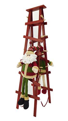 Christmas Concepts® 80cm Stehen Weihnachtskartenhalter Sankt u Schneemann Kletterleiter mit Holzpflöcken