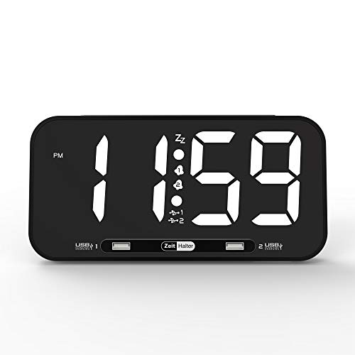 "ZEITHALTER 10"" Large Alarm Clock Digital, White LED Display, Super Thin, Nightlight, Dual Alarm 2-USB Charging Port, Outlet Powered Clock Gift for Dad Mom, Battery Backup"