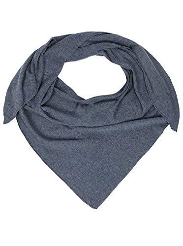Zwillingsherz Dreieckstuch mit Kaschmir - Hochwertiger Schal im Uni Design für Damen Jungen und Mädchen - XXL Hals-Tuch und Damenschal - Strick-Waren für Sommer und Winter - 150cm x 120cm - jeans