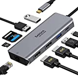 USB C Docking Station Dual Monitor,9 in 1 USB-C Docking Station to Dual HDMI, 100W PD, Ethernet, 2 USB 3.0, 1 USB 2.0 and SD/TF Card Reader for Windows OS Dell XPS 13, HP x360 etc