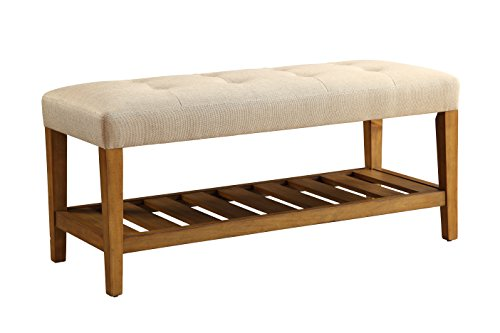 ACME Furniture 96682 Charla Bench, Beige & Oak $79.38 + Free Shipping at Amazon