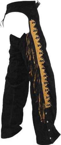 Chaps Fransenhose Reiter Cowboy Indianer Western Lederchaps Lederhose Schwarz, Größe:54